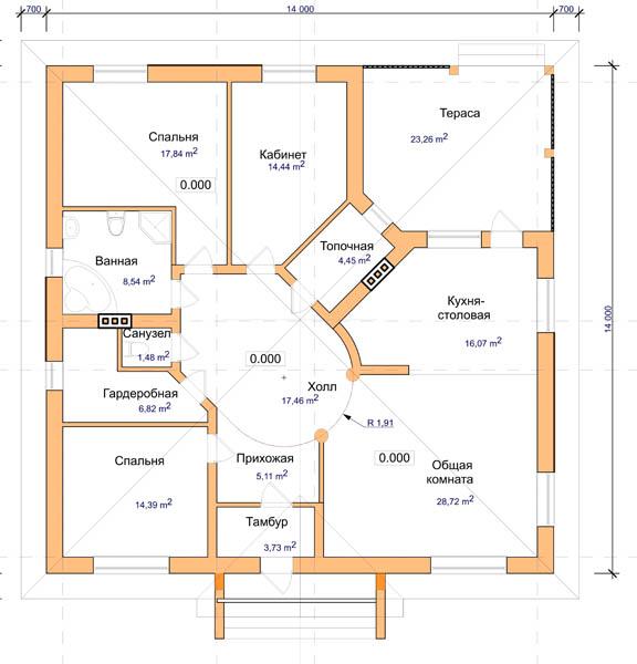 Проект большого одноэтажного дома b 010