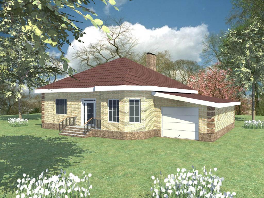 Одноэтажного дома с мансардой b 093 гра