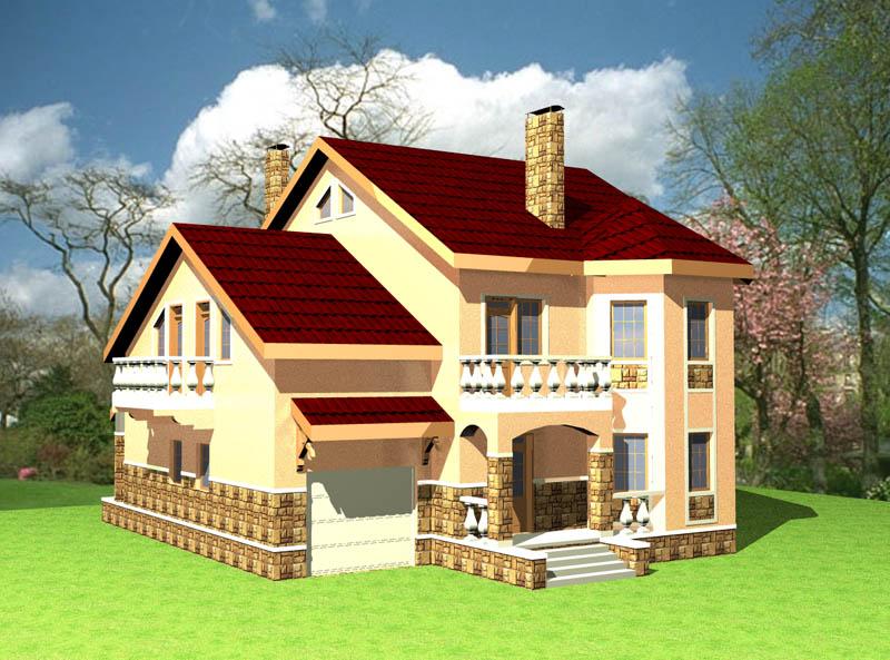 Проект двухэтажного дома с гаражом e 013