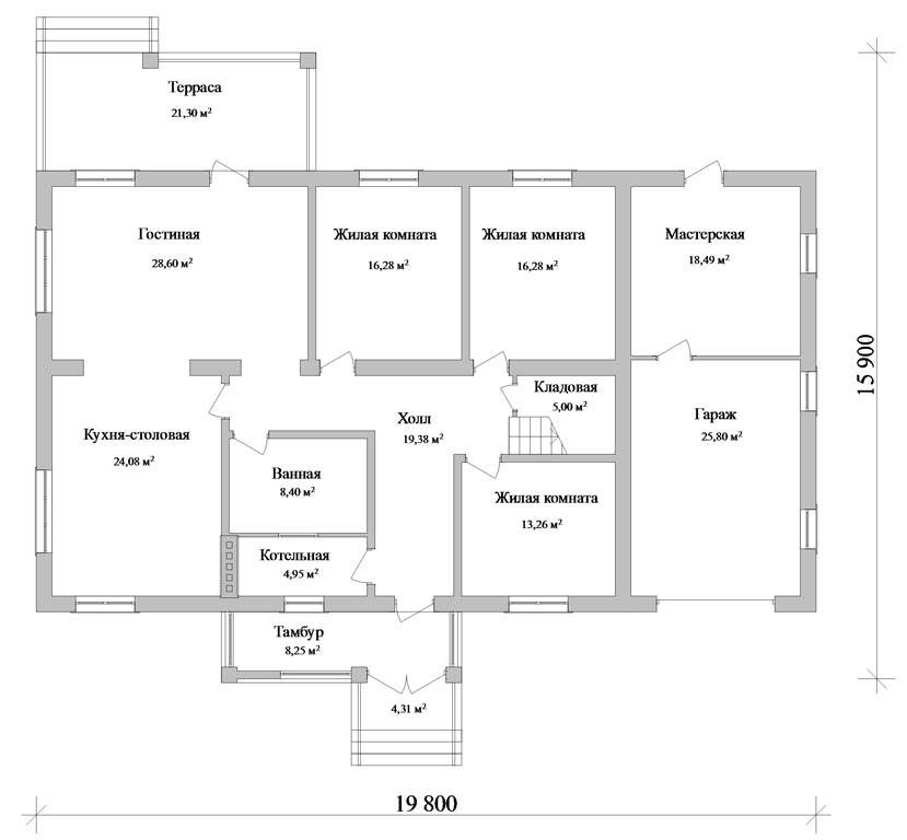 Проект одноэтажного дома с мансардой e