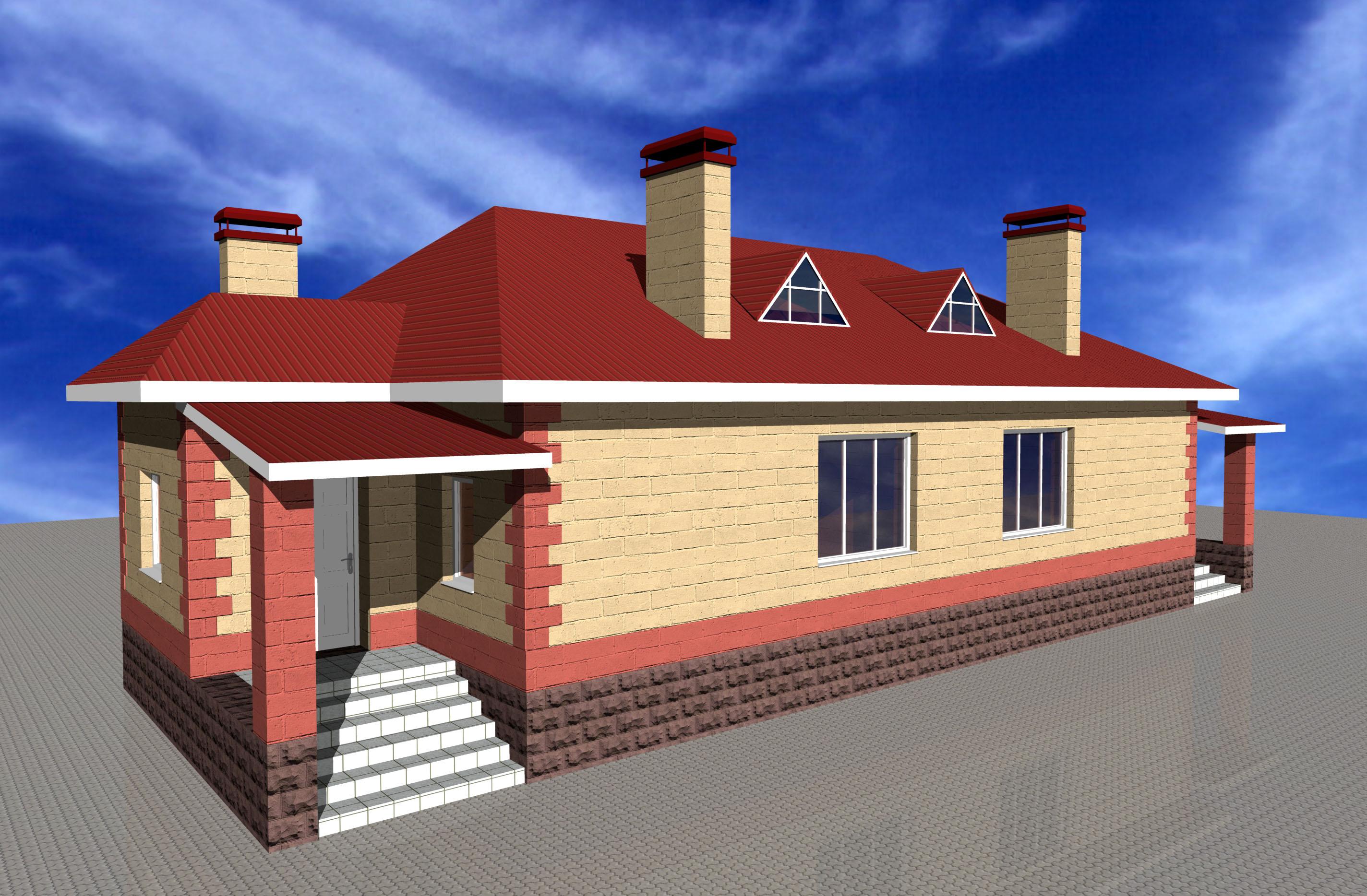 Небольшой двухквартирный дом из блоков фото